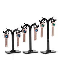 Porte-présentoir en forme de boucle d'oreille acylique noire, présentoir de bijoux fantaisie, vendu par paquet de 1 set = 3PCS