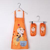 Aventais impermeáveis das crianças que desenham o jogo da roupa (avental + Oversleeve) Aventais dos miúdos para a cozinha de limpeza ZA6487 da cozinha