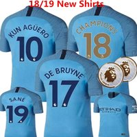 Camisetas de fútbol City Soccer Jerseys 18/19 De Bruyne G.jesus Sane Uniformes de Kun Aguero City Silva Sterling Kids Champions Patches customize