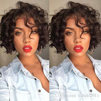 Short Wavy Curly Human Hair Wigs With Baby Hair Pre Plucked ...