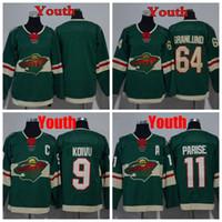 2018 Youth Minnesota Wild 11 Zach Parise 9 Mikko Koivu 64 Mikael Granlund Hockey  Jersey KIds Hockey Jersey Boys Blank Hockey Shirts edbd8b051