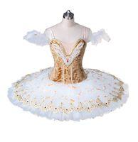 Dorosły Beżowy Profesjonalny Ballet Tutus Złoty Białe Naleśniki Tutu Spódnica Ballerina Profesjonalny balet Tutu Scena kostium dla kobiet BT8971A