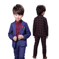Brand Boys 2Pcs Plaid Formal Wedding Suit England Style Boys Brooch Blazers Kids Tuxedos Boys School Clothing Set Costume N72