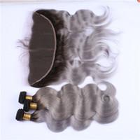 Körperwelle grau Ombre Lace Frontal Schließung mit 3 Bundles dunkel verwurzeltes Silber grau Ombre indische Jungfrau Haar spinnt mit 13 x 4 volle Spitze Frontal