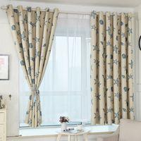 1 PC de 100 cm x 200 cm Azul Shell y estrellas de mar Impresión pantalla de tela Cortinas para habitaciones de niños Balcón dormitorio Terminado cortina corta
