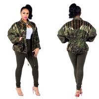 2019 Herbst neue Art-Frauen grüne Tarnung Jacken mit langen Ärmeln Turn Down Ausschnitt Taschen Pailletten Fashion Street Verein beiläufige Mäntel Outwear