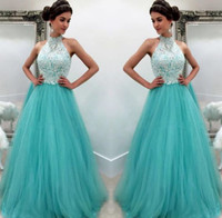 Aqua Prom Dresses 2019 Formal Evening Party Pageant A-line Gowns African Black Girl Halter Lace Long Cheap
