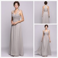 Sliver Bridesmaid Dresses Long Halter Lace Appliques Sheer N...