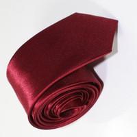 패션 남자 여성 부르고뉴 스키니 솔리드 컬러 일반 새틴 폴리 에스터 실크 타이 넥타이 넥 넥타이 20 색 5cmx145cm