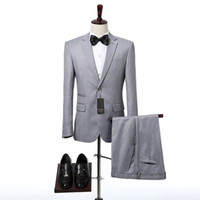 Light Grey Wedding Mens Anzüge 2018 Zweiteiler Revers Klassisch Fit Hochzeit Smoking Foviva Style 09002