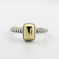 Anelli di barretta dell'argento sterlina 925 per le donne rettangolo tono oro Corda di canapa in metallo Vintage anello aperto gioielleria YMR218