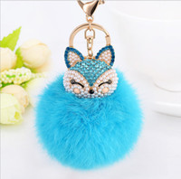 brand new crystal gold plated fox Puffer Ball key chain ring...