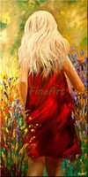 hand painted abstract palette knife heavy texture girl oil p...