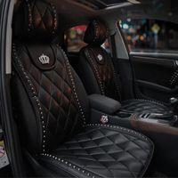 Carshaping 1 pz Durable morbido materiale in pelle corona auto interni sedile copertura cuscino cuscino mat crown forniture auto (nero bianco)