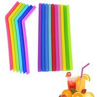 Food Grade flexível Silicone Palhas bebendo bebida Ferramentas reutilizável Eco-Friendly colorido palha para Home Bar Acessórios Silicon