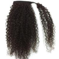 Nouvelle arrivée cheveux humains queue de cheval vierge brésilienne cheveux long crépus bouclés cordon queue de cheval Extensinons 8 a grade livraison gratuite 18 pouces # 1b 120g