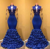 Gorgeous Royal Blue Prom Dresses 2018 Sheer Long Sleeve with...