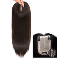 9x14 cm Womens Free Part Seide Basis Echthaar Krone Topper Clip in Toupee Gewicht Haarteile Natürliche Schwarze Remy Menschenhaar Toupee