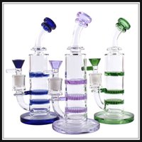 2018 new glass bong oil rig 3X Layer Honeycomb  tornado wate...