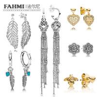 FAMHI 100% 925 Sterlingsilber 1: 1 Authentische klassische Bogen-Crown-Schneeflocke-Herz-Form Glamour weiblicher Hochzeits-Bolzen-Ohrring