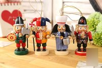 4pc set 10cm Wooden Nutcracker Doll Sweety Soldier Vintage H...