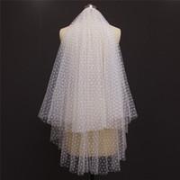 صور حقيقية 2 طبقات نقطة صافي الزفاف قصيرة حجاب مع مشط جميل غطاء الوجه 2 ر الحجاب الزفاف اكسسوارات الزفاف NV7139