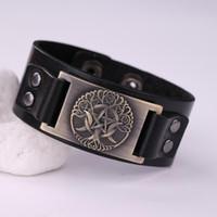 Boom van Universe Nordic Hexagram Amulet Armband Mens Designer Sieraden Zwart en Bruin Lederen Armbanden