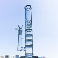 Staight Tube Tall Glass Bong Triple Honeycomb Water Pipe Bir...
