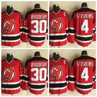 Vintage New Jersey Devils 4 Scott Stevens 30 Martin Brodeur Hokey Forması Mens Scott Stevens Martin Brodeur Ev Kırmızı Dikişli Gömlek C Yama