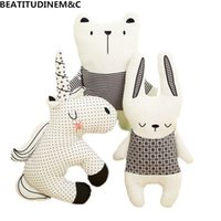 Nordic Style Rabbit Unicorn Bear Pillow Cushion Toys, Cotton...