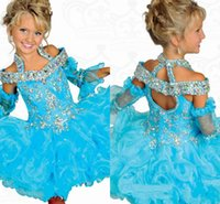 Glitz Pageant Dresses For Girls 3 4 Sleeve Beads Crystal Rhi...