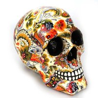 Creative Color Printed Pattern Ornaments Skull Resin Mask Of...