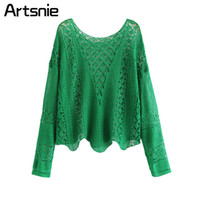 Artsnie Black Hollow Out Sexy Knitted Summer Blouse Women O ...