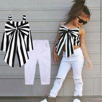 Ropa de diseñador para niños 2019 Summer Baby Girls Outfits Conjuntos para niñas Ropa a cuadros Correas para el hombro Arco Raya Top Pantalones largos Trajes de niños 2 piezas