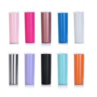 20oz Stainless Steel Skinny Tumbler with Lid and Straw Doubl...