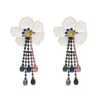 idealway chaud alliage plaqué or émail fleur strass cristal pompon Drop Dangle boucles d'oreilles bijoux