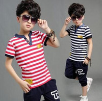Children summer two sets of sportswear short- sleeved T- shirt...