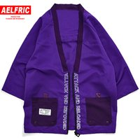 Kimono Jacken Männer Harajuku Streetwear Brief Patch Design Mantel Hip Hop Jacke Männlichen V-ausschnitt Halb Reißverschluss Strickjacke Mantel KJ52