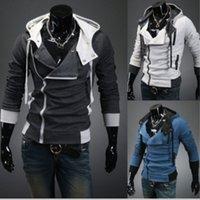 Mens Assassins Creed 3 Casaco Com Capuz Jaqueta de Moda Oblíqua Com Zíper Fino Hoodies Casaco Masculino Casual Fit Longo Mangas Com Capuz Jaqueta Casaco Tops