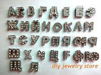 Mode DIY Alliage Accessoires 520pcs 8 MM Full Strass Russe Slide Lettres Charms Fit DIY Bracelet Bracelet
