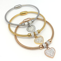 LOOKER подвески горный хрусталь сердце браслет браслеты Femme подарки для женщин Braclet ювелирные изделия из нержавеющей стали Braceles