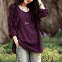 O- neck Cotton Linen Shirts 2018 Women New Pockets Summer Sol...