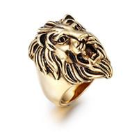 Oro de los hombres de moda anillo de acero inoxidable de plata negro exagerado Dominante Lion Head Anillos Vintage Gothic Punk Rock Biker anillo de la joyería