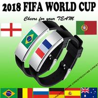 Bandiera Germania in acciaio inox 9 cuntries Bandiera nazionale in silicone braccialetto 2018 coppa del mondo regali di fascino acclamazioni brasile germania