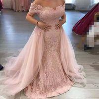 Пользовательские платья вечерних платьев русалки плечевого кружева 2021 плюс размер аппликации