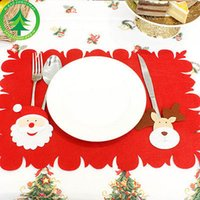 Cute reindeer Xmas Christmas Table Decor Placemats With Knif...