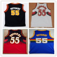 men' s High Quality 55 Dikembe Mutombo Jerseys Black Whi...