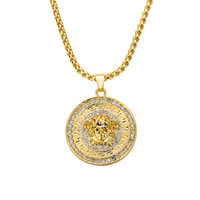 Brand Hiphop Medusa Pendant Necklaces For Mens Gold Plated H...