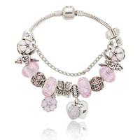 Pink sakura love heart Bracciale con ciondoli per Pandora Bracciale con ciondoli a catena in argento 925 3mm con logo originale
