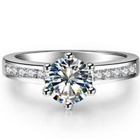 Promoção Rodada Corte Anéis De Casamento De Diamante Sintético Para As Mulheres 925 Anel De Prata PT950 Selo Anel De Noivado De Ouro Branco Bague Femme